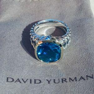 David Yurman Noblesse Two Tone Topaz Ring Size 8